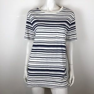 J Crew Jeans black white striped long t shirt L